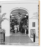 French Quarter French Market Entrance New Orleans Conte Crayon Digital Art Wood Print
