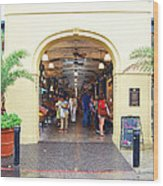 French Quarter French Market Entrance New Orleans Film Grain Digital Art Wood Print