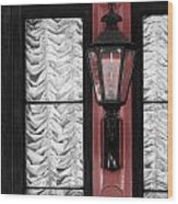 French Quarter Gas Lamp With Red Wood Print