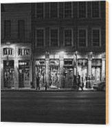 French Quarter Shopping At Night - Black And White Wood Print