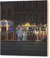 French Quarter Shopping At Night Wood Print