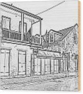 French Quarter Tavern Architecture New Orleans Black And White Photocopy Digital Art Wood Print