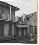 French Quarter Tavern Architecture New Orleans Black And White Wood Print