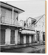 French Quarter Tavern Architecture New Orleans Conte Crayon Digital Art Wood Print