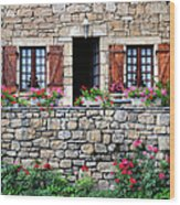 French Stone House Wood Print