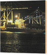 Freo Port By Night Wood Print
