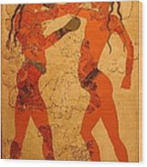 Fresco Of Boxing Children Wood Print