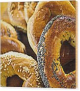 Fresh Bagels Wood Print by Elena Elisseeva