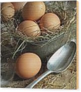 Fresh Brown Eggs In Old Tin Container With Spoon  Wood Print by Sandra Cunningham