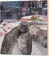 Fresh Fish On The Market Wood Print