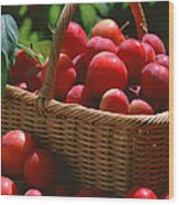 Fresh Red Plums In The Basket Wood Print