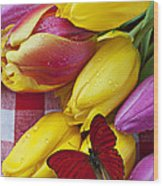 Fresh Tulips And Red Butterfly Wood Print