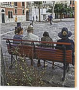 Friends On Park Bench Wood Print