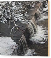 Frigid Falls Wood Print