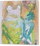 Frog With Fresh Flowers Wood Print