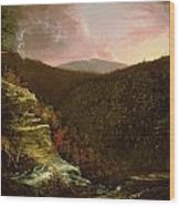 From The Top Of Kaaterskill Falls Wood Print by Thomas Cole