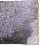 Frosty Trees And Creek Wood Print