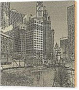 Frozen Chicago River. Wood Print