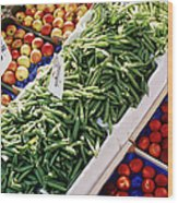 Fruit And Vegetable Stand Wood Print