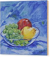 Fruit On Blue Wood Print
