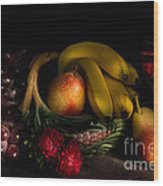 Fruit Still Life With Wine Wood Print