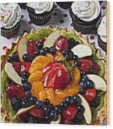 Fruit Tart Pie And Cupcakes  Wood Print by Garry Gay