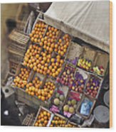 Fruit Vendor In The Kahn Wood Print by Mary Machare