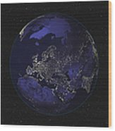 Full Earth At Night Showing City Lights Wood Print by Stocktrek Images