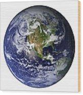 Full Earth Showing North America White Wood Print