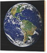 Full Earth Showing The Western Wood Print