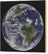 Full Earth Showing Two Tropical Storms Wood Print