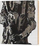 Full Length Figure Portrait Of Swat Team Leader Alpha Chicago Police In Full Uniform With War Gun Wood Print by M Zimmerman MendyZ