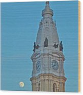Full Moon And Billy Penn Wood Print