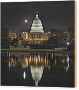 Full Moon At The Us Capitol Wood Print by Metro DC Photography