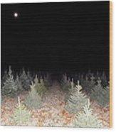 Full Moon Beyond The Tree Farm Wood Print