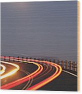 Full Moon Over A Curving Road Wood Print