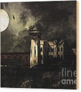 Full Moon Over Hard Time - San Quentin California State Prison - 7d18546 - Partial Sepia Wood Print