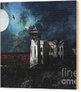 Full Moon Over Hard Time - San Quentin California State Prison - 7d18546 Wood Print