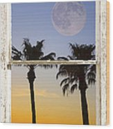Full Moon Palm Tree Picture Window Sunset Wood Print