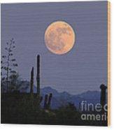 Full Moon Rise Gold Canyon Az Wood Print