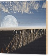 Full Moon Rising Above A Sand Dune Wood Print