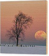 Full Moon Rising Near Graveyard Wood Print