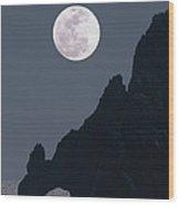Full Moon Rising Over A Coastal Cliff Wood Print