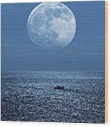 Full Moon Rising Over The Sea Wood Print