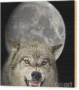 Full Moon Wolf Wood Print