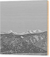 Full Moon Setting Over The Co Rocky Mountains Bw Wood Print