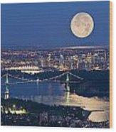 Full Moonrise Over Vancouver, British Wood Print