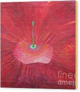 Full Red Flower Wood Print