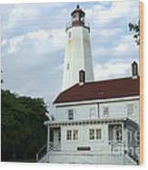 Full View Of Sandy Hook Lighthouse Wood Print