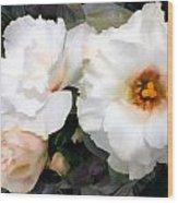 Full White Roses Wood Print